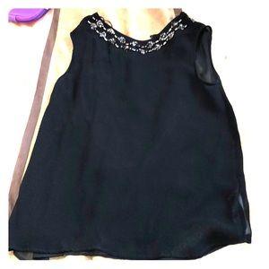 🍰Sale! Zara black top with beaded flower collar